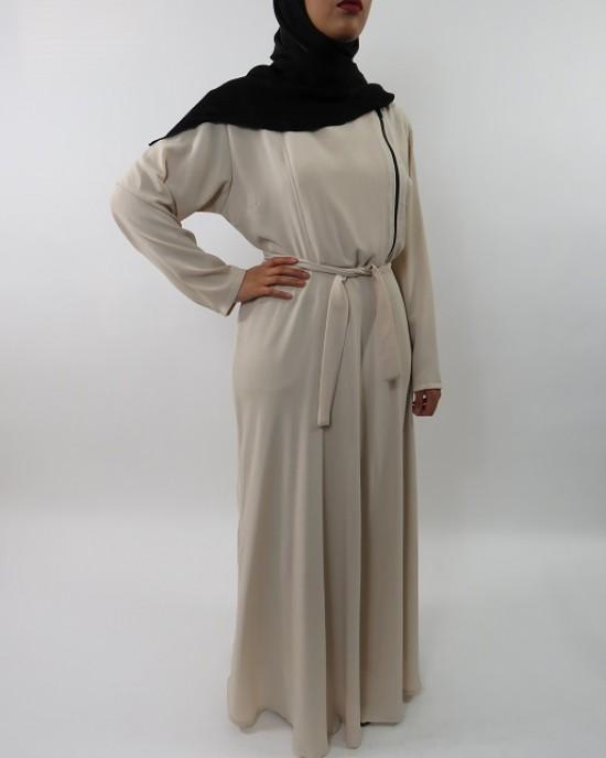 Amani's Collared Cream Long Sleeve Maxi Dress With Biker Style Zip UK - Long Sleeve Maxi Dresses - MaxiDress027