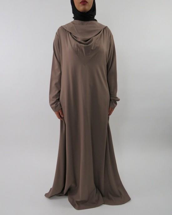 Amani's A-line Dark Beige Hoody Long Sleeve Maxi Dress – Abaya Style UK - CLEARANCE - HoodyMaxiDress003
