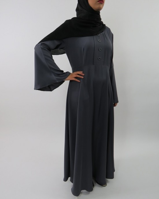 Amani's Dark Grey Long Sleeve Maxi Dress Style UK - Long Sleeve Maxi Dresses - MaxiDress029
