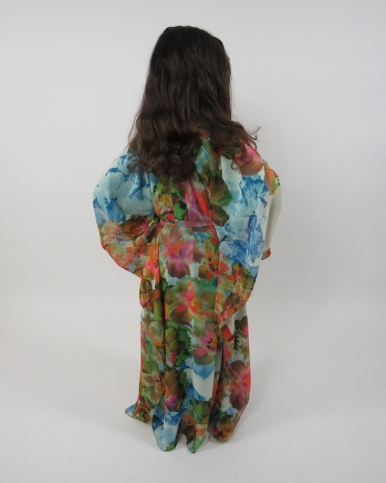 Amani's Floral Print Long Sleeve Kids Maxi Dress Style UK - Childrens Dresses - KidsDress018