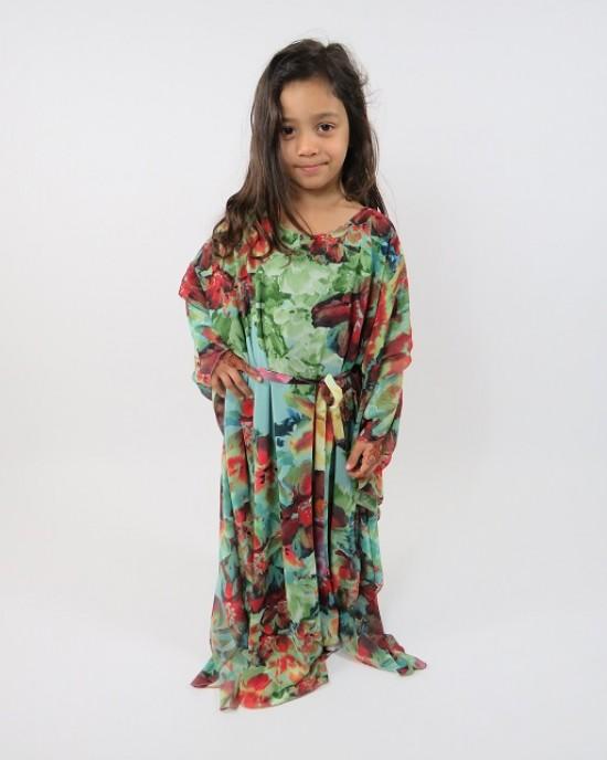 Amani's Floral Print Long Sleeve Kids Maxi Dress Style UK - Childrens Dresses - KidsDress016