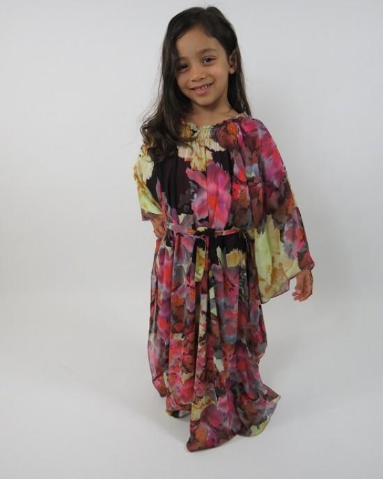 Amani's Floral Print Long Sleeve Kids Maxi Dress Style UK
