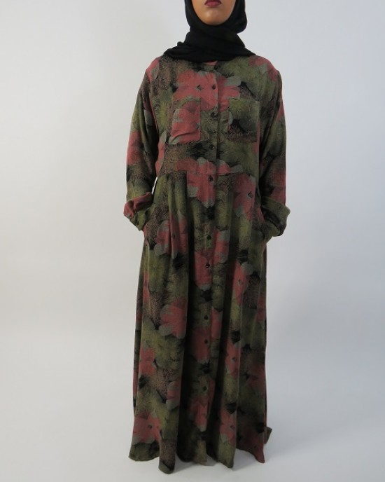 Amani's – Green Floral Long Sleeve Open Maxi Dress Style UK - Long Sleeve Maxi Dresses - MaxiDress002