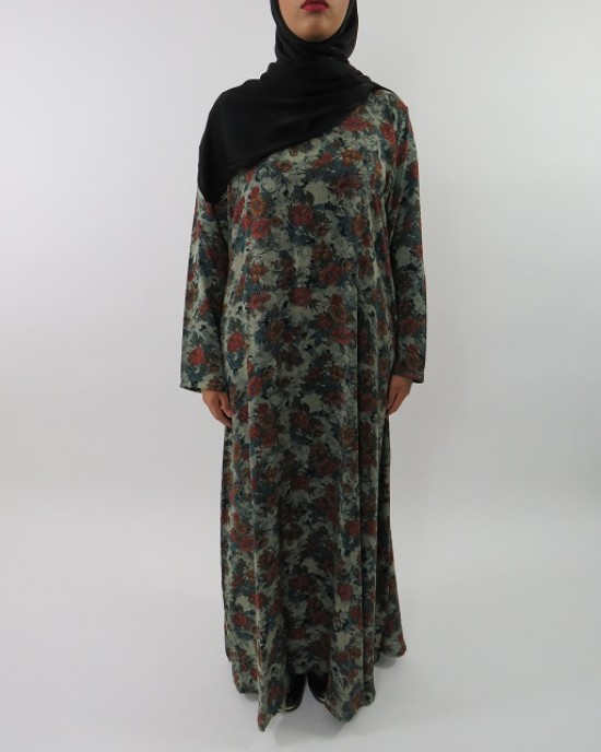 Amani's Green Floral Printed Cotton Long Sleeve Maxi Dress Style UK - Long Sleeve Maxi Dresses - MaxiDress024