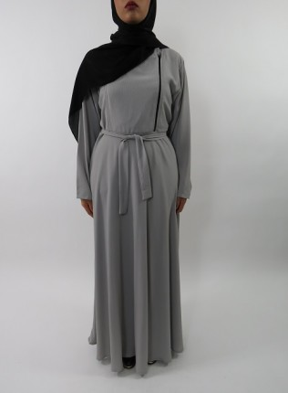 Amani's Collared Grey Long Sleeve Maxi Dress With Biker Style Zip UK