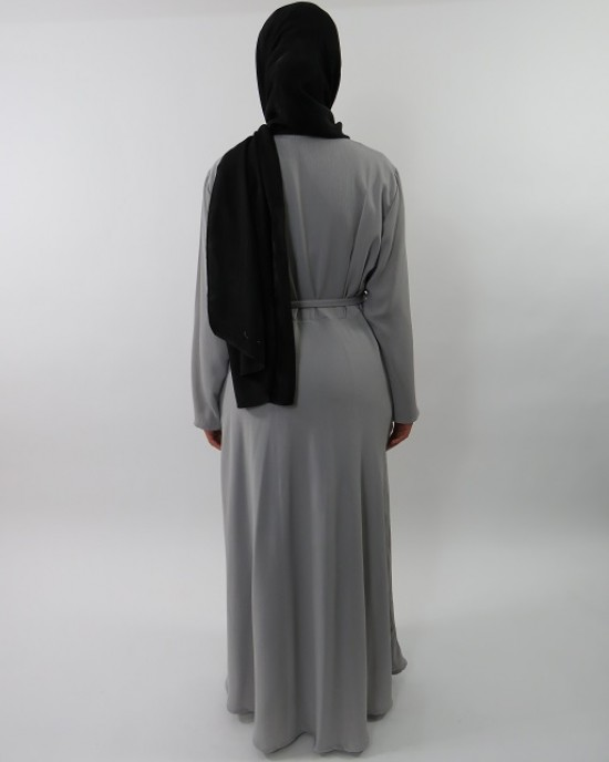 Amani's Collared Grey Long Sleeve Maxi Dress With Biker Style Zip UK - Long Sleeve Maxi Dresses - MaxiDress025