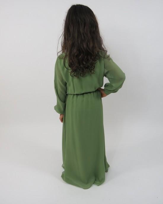 Amani's Light Green Kids Long Sleeve Maxi Dress Style UK - Childrens Dresses - KidsDress007