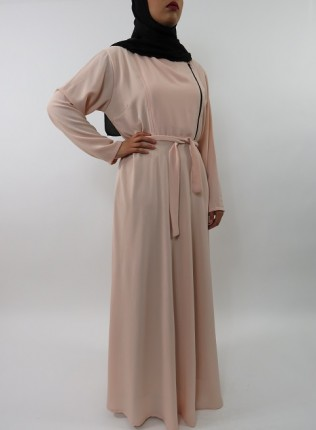 Amani's Collared Long Sleeve Maxi Dress With Biker Style Zip – UK