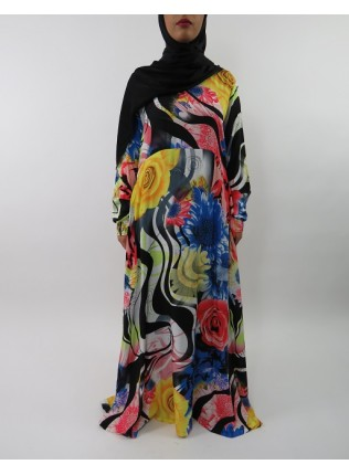 Amani's A-line Multi Colour Rose Print Long Sleeve Maxi Dress Style UK