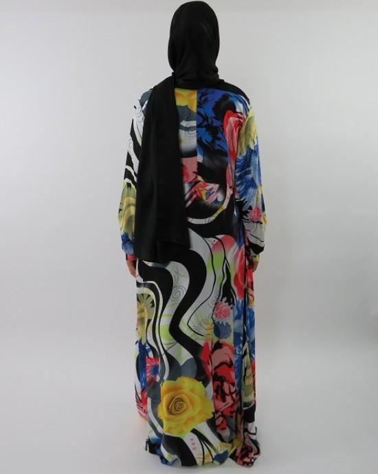 Amani's A-line Multi Colour Rose Print Long Sleeve Maxi Dress Style UK - CLEARANCE - MaxiDress036