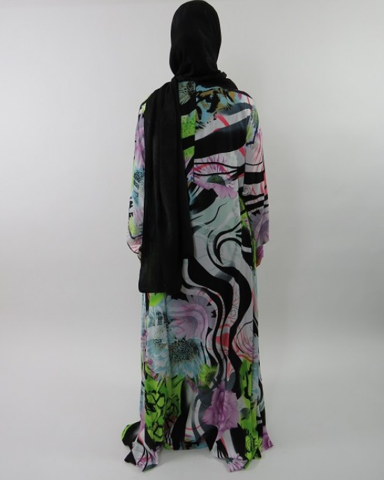 Amani's A-line Multi Colour Rose Print Long Sleeve Maxi Dress Style UK - New Arrivals - MaxiDress039