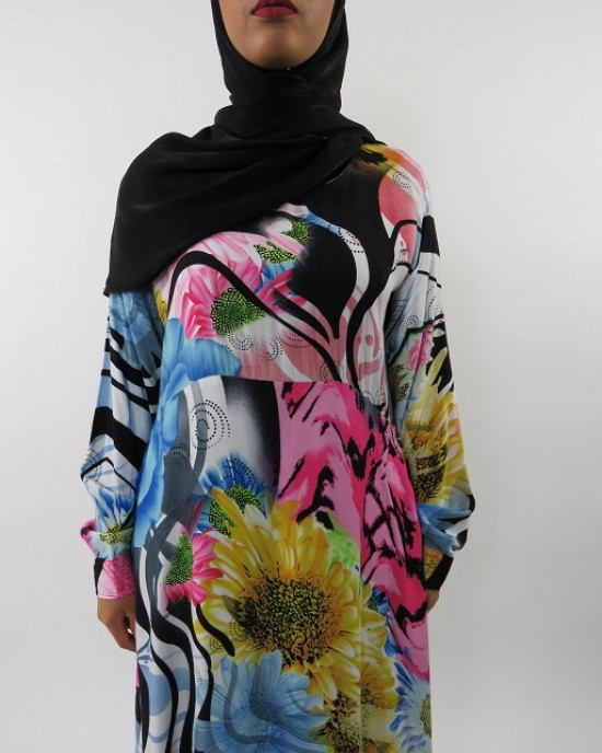 Amani's A-line Multi Colour Rose Print Long Sleeve Maxi Dress Style UK - CLEARANCE - MaxiDress037