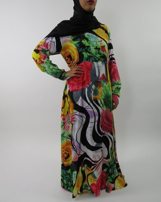 Amani's A-line Multi Colour Rose Print Long Sleeve Maxi Dress Style UK - Long Sleeve Maxi Dresses - MaxiDress038