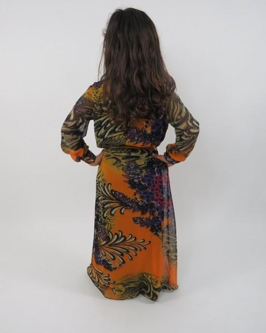 Amani's Orange Long Sleeve Kids Maxi Dress Style UK - Childrens Dresses - KidsDress010