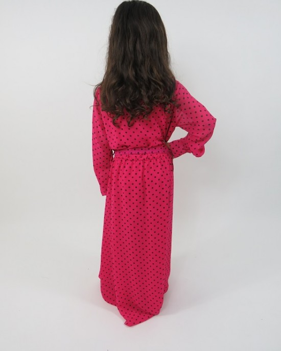Amani's Pink Long Sleeve Polka Dot Dress For Kids – Maxi Dress Style UK