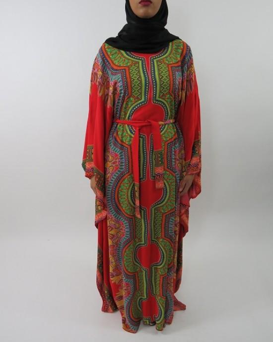 Amani's Red Soft Cotton Kaftan Style Maxi Dress UK - Long Sleeve Maxi Dresses - MaxiDress033
