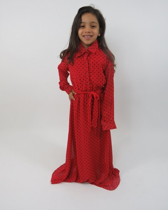 Amani's Red Long Sleeve Polka Dot Dress For Kids – Maxi Dress Style UK - Childrens Dresses - KidsDress001
