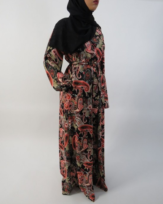 Amani's Red and Cream Long Sleeve Maxi Dress UK - Long Sleeve Maxi Dresses - MaxiDress006