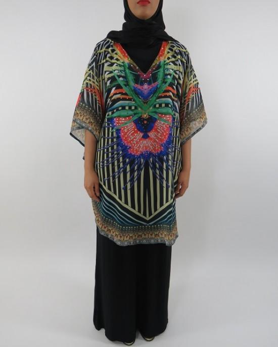 Amani's Top and Black Jersey Maxi Dress Style UK - Long Sleeve Maxi Dresses - ChiffonDress004
