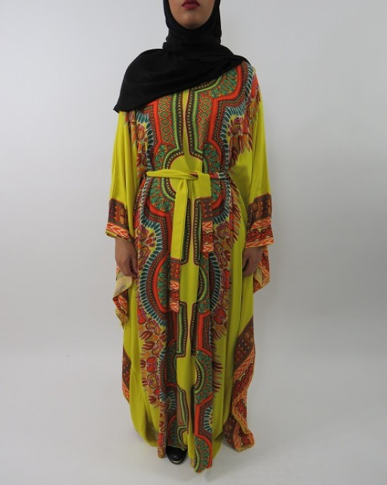 Amani's Yellow Soft Cotton Kaftan Style Maxi Dress UK - Long Sleeve Maxi Dresses - MaxiDress034