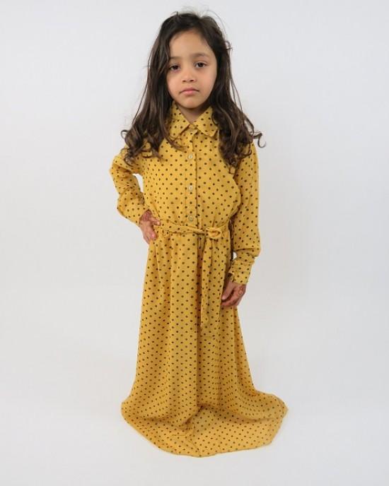 Amani's Yellow Long Sleeve Polka Dot Dress For Kids – Maxi Dress Style UK - Childrens Dresses - KidsDress003
