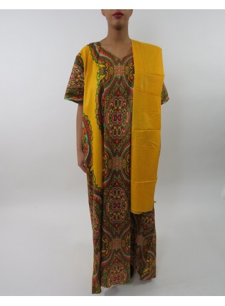 Amani's Yellow Short Sleeve Maxi Dress Style With Matching Scarf UK