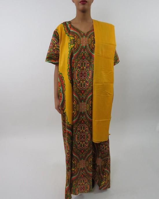 Amani's Yellow Short Sleeve Maxi Dress Style With Matching Scarf UK