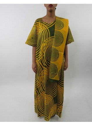 Amani's Yellow and Green Short Sleeve Maxi Dress Style With Matching Scarf UK