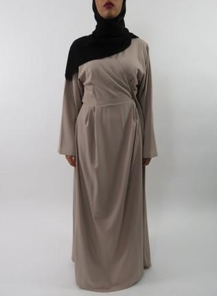 Amani's Beige Long Sleeve Wrap Around Maxi Jacket – Dress Style UK