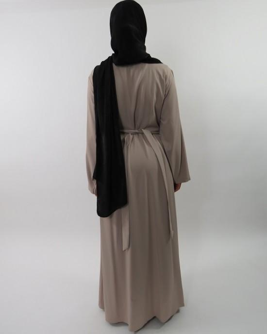 Amani's Beige Long Sleeve Wrap Around Maxi Jacket – Dress Style UK - Jackets - Jacket001