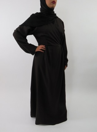 Amani's Dark Brown Long Sleeve Wrap Around Maxi Jacket – Dress Style UK
