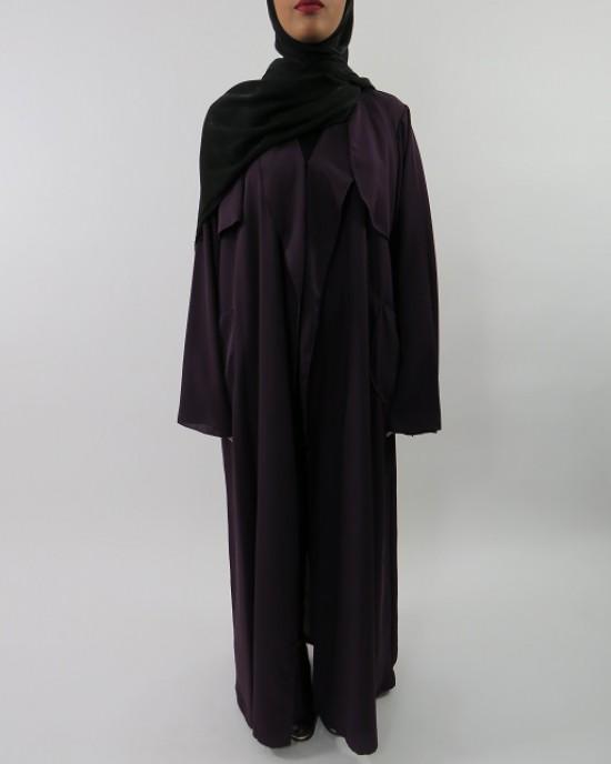 Amani's Deep Purple Neda Long Sleeve Maxi Jacket Style With Side Pockets UK - Jackets - Jacket004