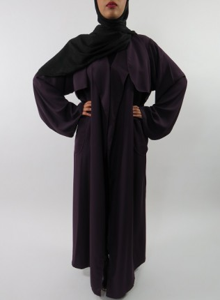 Amani's Deep Purple Neda Long Sleeve Maxi Jacket Style With Side Pockets UK