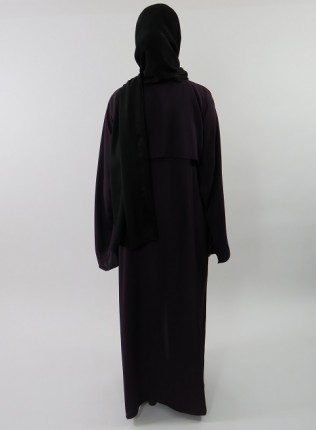 Amani's Deep Purple Neda Long Sleeve Maxi Jacket Style With Side Pockets UK