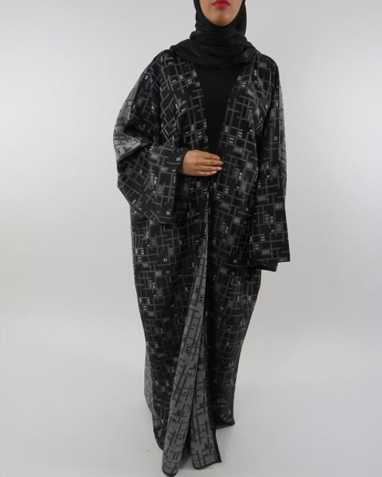 Amani's Full Length Long Sleeve Maxi Kimono Jacket – Coat Style UK - Kimono Jackets - Abaya Overcoats - KimonoJacket040