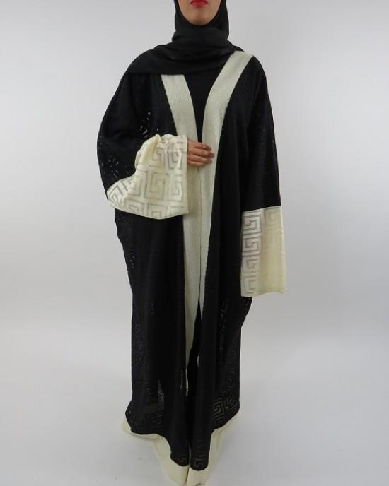 Amani's Full Length Long Sleeve Maxi Kimono Jacket – Coat Style UK - Kimono Jackets - Abaya Overcoats - KimonoJacket037