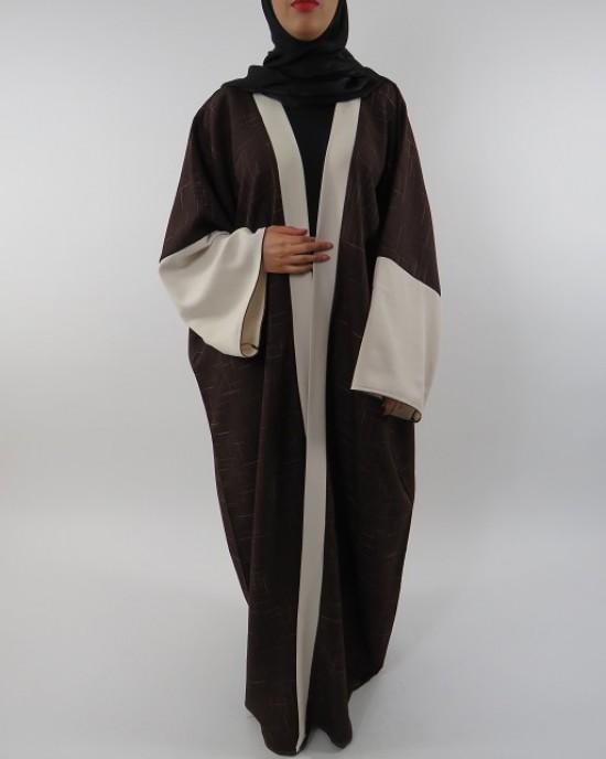Amani's Full Length Long Sleeve Maxi Kimono Jacket – Coat Style UK - Kimono Jackets - Abaya Overcoats - KimonoJacket0401
