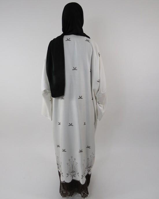 Amani's Full Length Long Sleeve Maxi Kimono Jacket – Coat Style UK - Kimono Jackets - Abaya Overcoats - KimonoJacket016