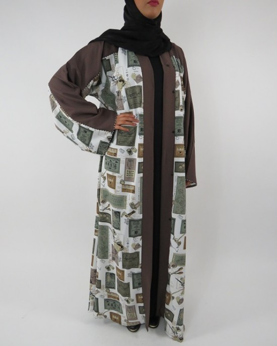 Amani's Full Length Long Sleeve Maxi Kimono Jacket – Coat Style UK - Kimono Jackets - Abaya Overcoats - KimonoJacket012