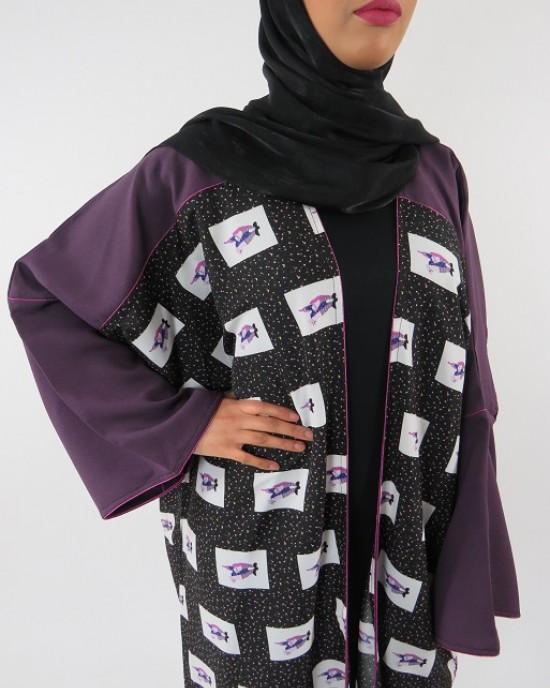 Amani's Full Length Long Sleeve Maxi Kimono Jacket – Coat Style UK - Kimono Jackets - Abaya Overcoats - KimonoJacket010