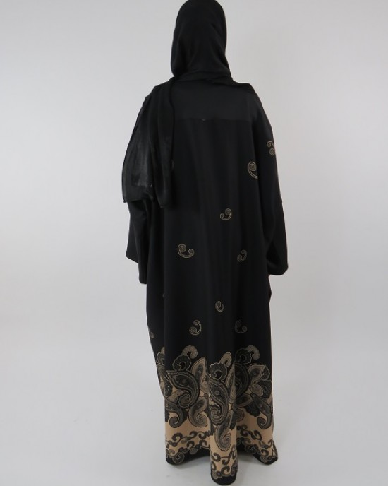 Amani's Full Length Long Sleeve Maxi Kimono Jacket – Coat Style UK - Kimono Jackets - Abaya Overcoats - KimonoJacket003