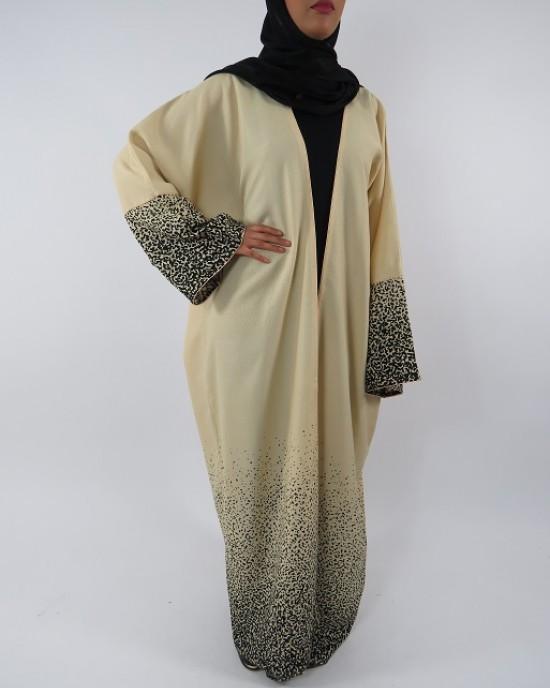Amani's Full Length Long Sleeve Maxi Kimono Jacket – Coat Style UK - Kimono Jackets - Abaya Overcoats - KimonoJacket002