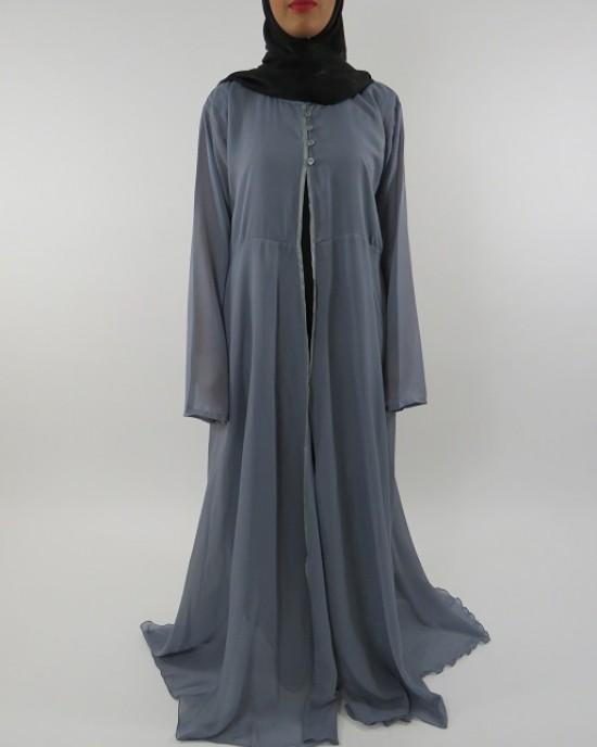 Amani's Grey Transparent Chiffon Jacket Style UK - Jackets - ChiffonJacket001