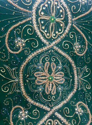 Amanis Heavy Handmade Floral Embellishment Bridal Dirac Material On Emerald Green Chiffon