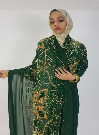 Amanis Large Handmade Floral Embellishment Bridal Dirac Material On Emerald Green Chiffon
