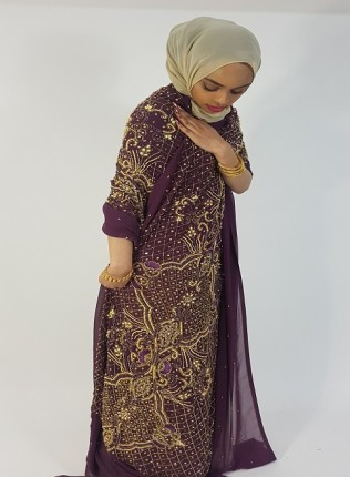 Amanis Heavy Handmade Floral Embellishment Bridal Dirac Material On Mulberry Chiffon