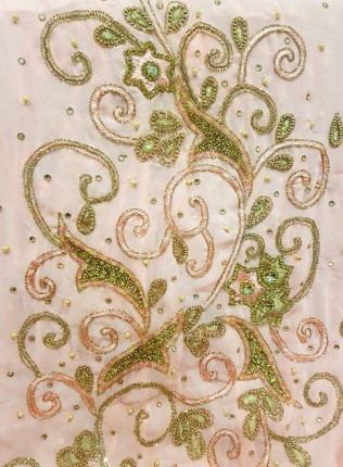 Amanis Handmade Floral And Swirls Embellishmentt Bridal Dirac Material On Soft Coral Chiffon
