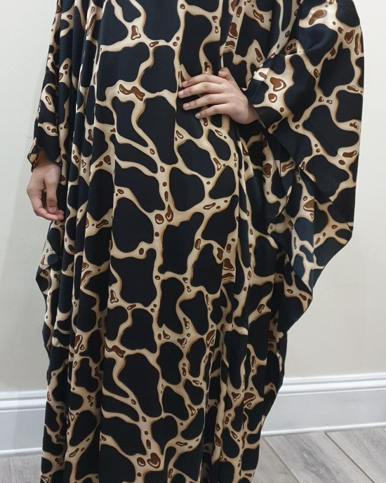 Tara Silk Satin Black Kaftan Maxi Dress - New Arrivals - Tara001