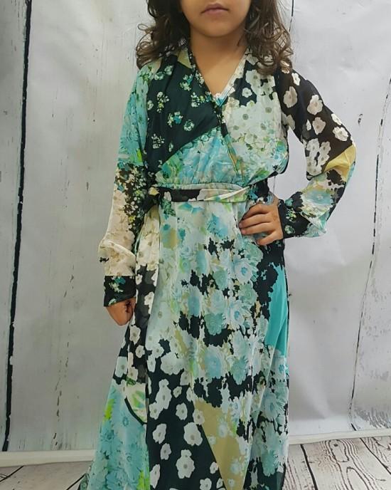 Mia s Shirt-Collar Neckline Chiffon Long Sleeve Maxi Dress - Childrens Dresses - AME012