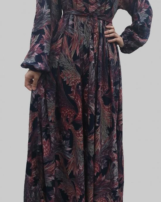 Elasticated sleeves Long Sleeve Casual Floral Bow Tie Maxi Dress - Long Sleeve Maxi Dresses - BT001